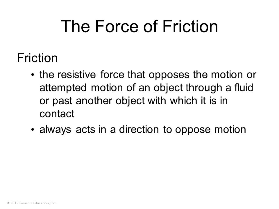 The Force of Friction Friction