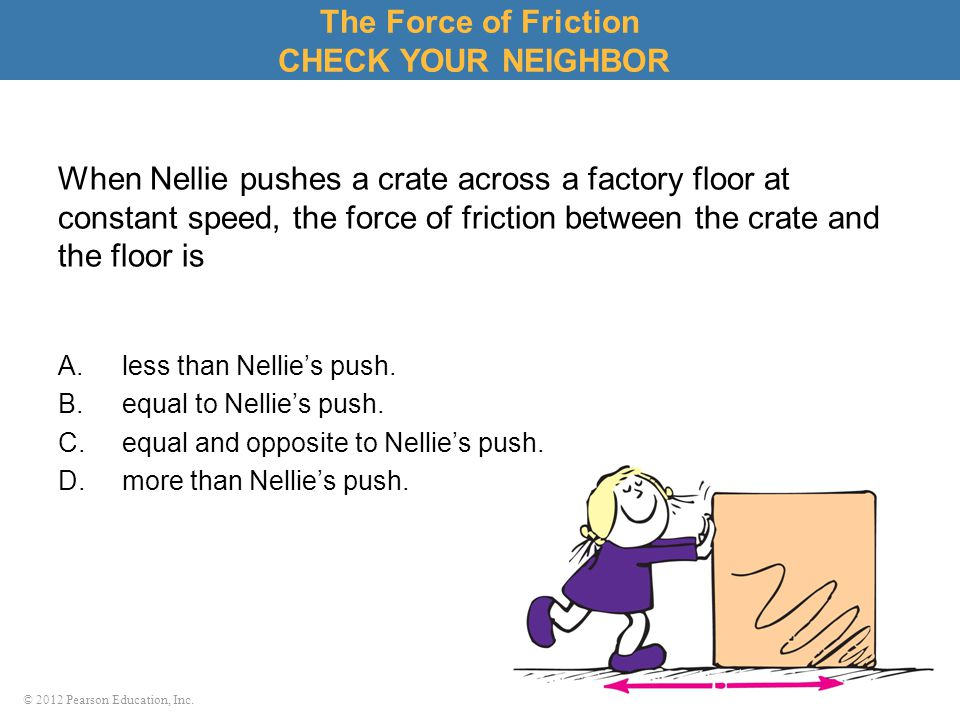 The Force of Friction CHECK YOUR NEIGHBOR