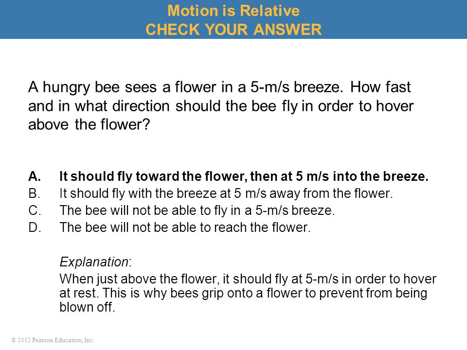 Motion is Relative CHECK YOUR ANSWER