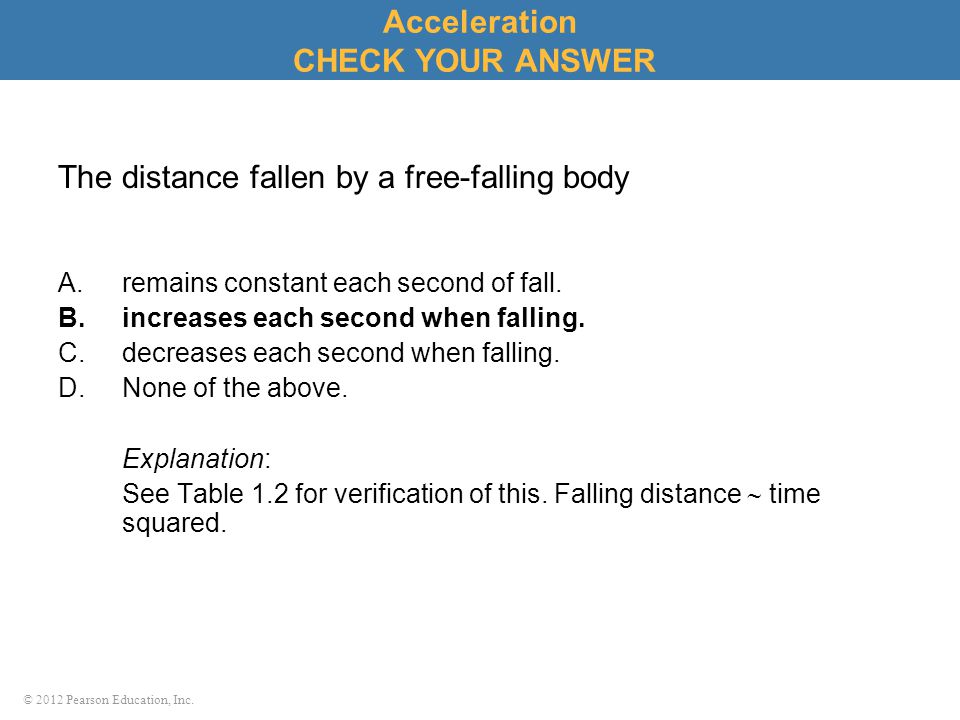 The distance fallen by a free-falling body