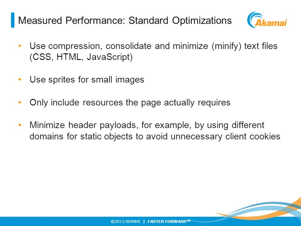 Measured Performance: Standard Optimizations