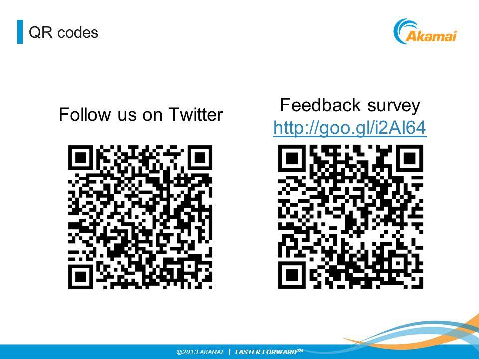 QR codes Feedback survey http://goo.gl/i2AI64 Follow us on Twitter