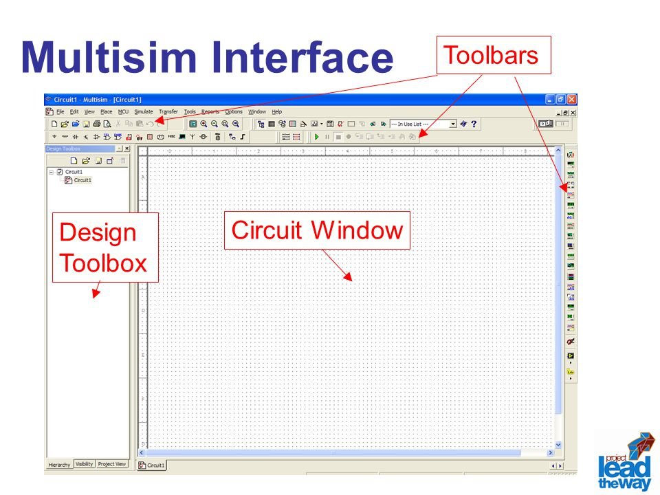 Multisim Interface Toolbars Circuit Window Design Toolbox