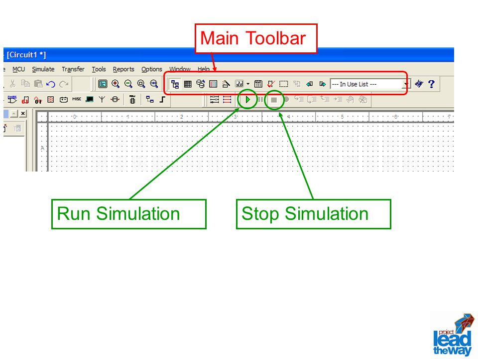 Main Toolbar Run Simulation Stop Simulation