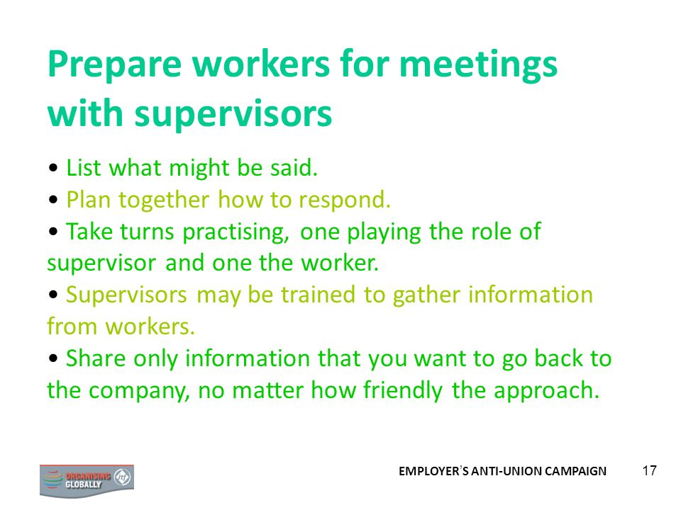 Prepare workers for meetings with supervisors