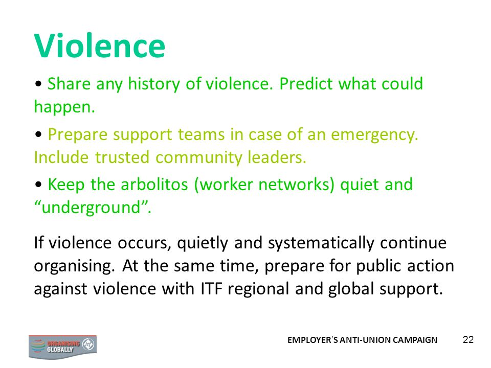 Violence Share any history of violence. Predict what could happen.