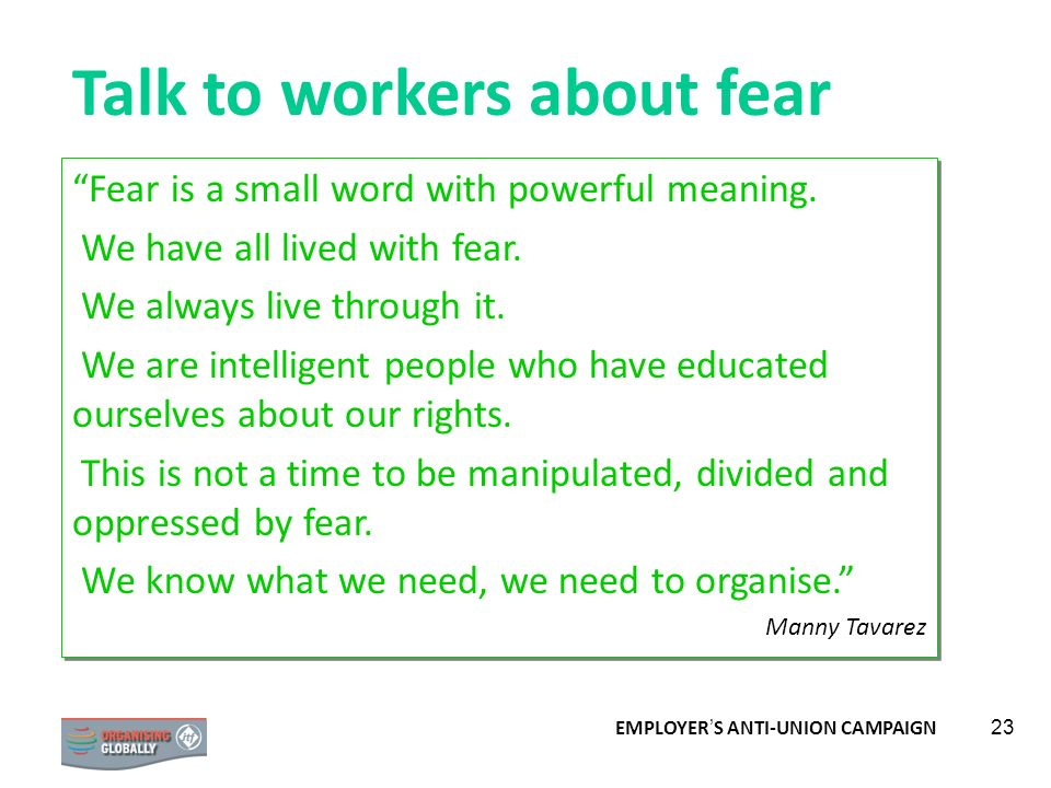 Talk to workers about fear