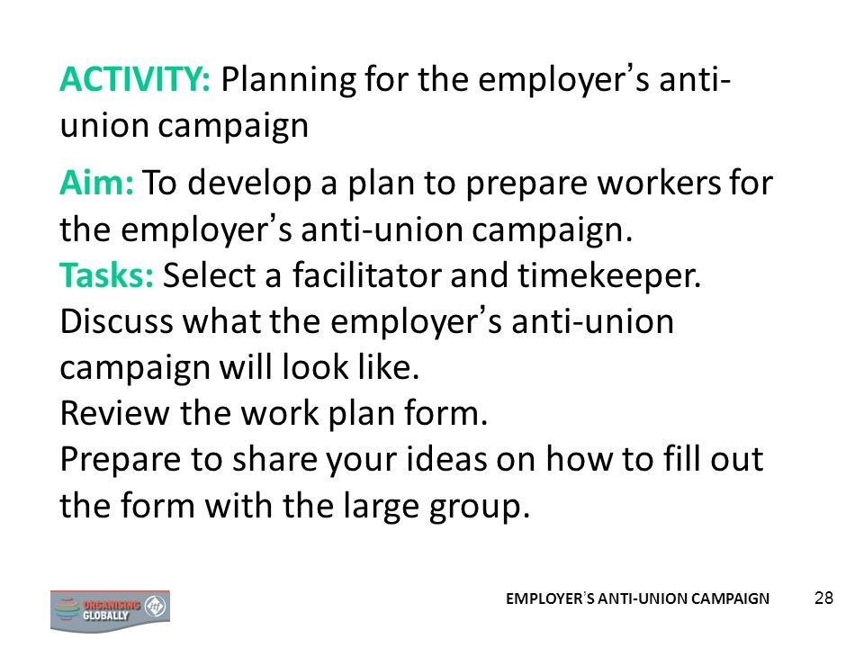 ACTIVITY: Planning for the employer's anti-union campaign
