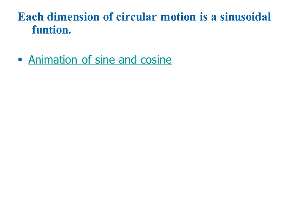 Each dimension of circular motion is a sinusoidal funtion.