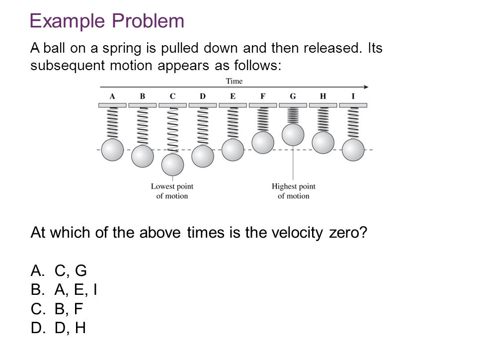 Example Problem At which of the above times is the velocity zero C, G