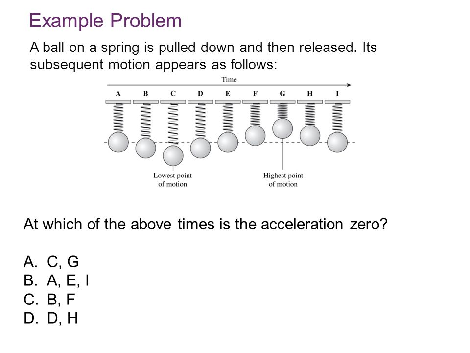 Example Problem At which of the above times is the acceleration zero