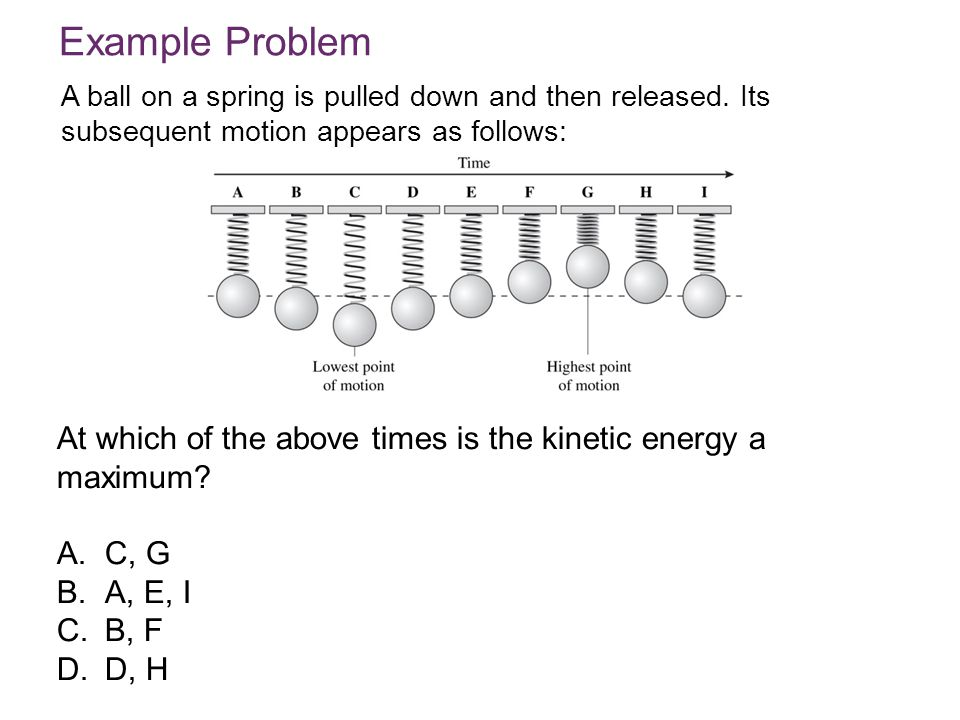 Example Problem A ball on a spring is pulled down and then released. Its subsequent motion appears as follows: