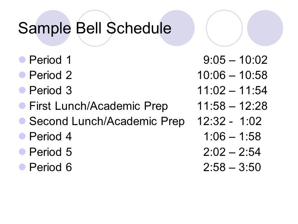 Sample Bell Schedule Period 1 9:05 – 10:02 Period 2 10:06 – 10:58