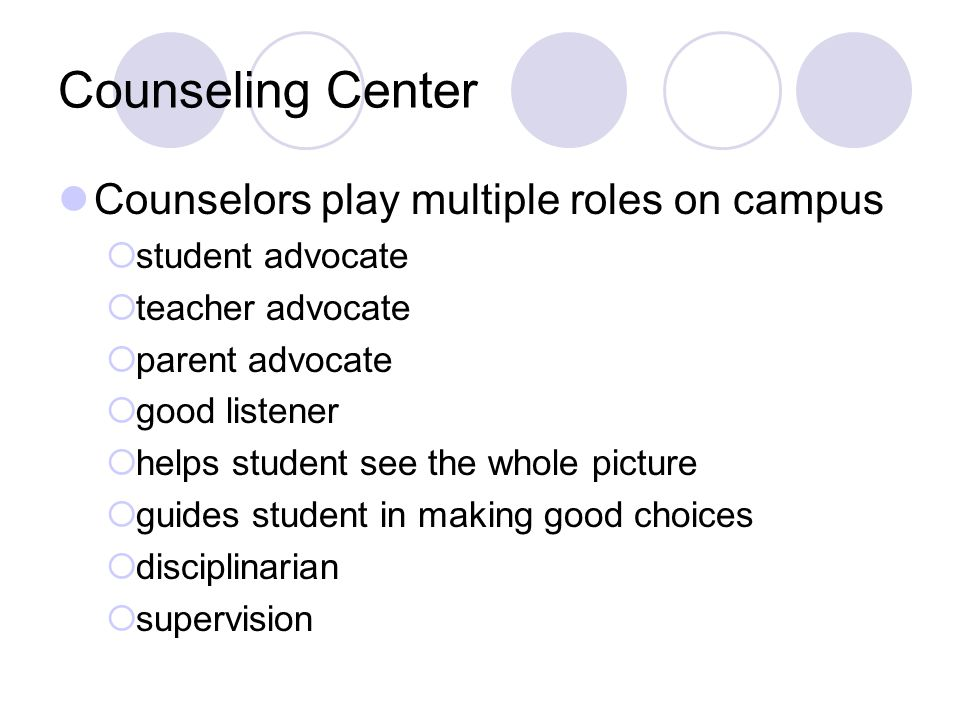 Counseling Center Counselors play multiple roles on campus