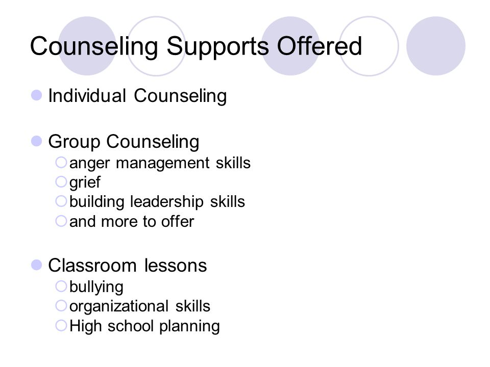 Counseling Supports Offered