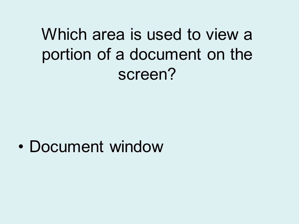 Which area is used to view a portion of a document on the screen