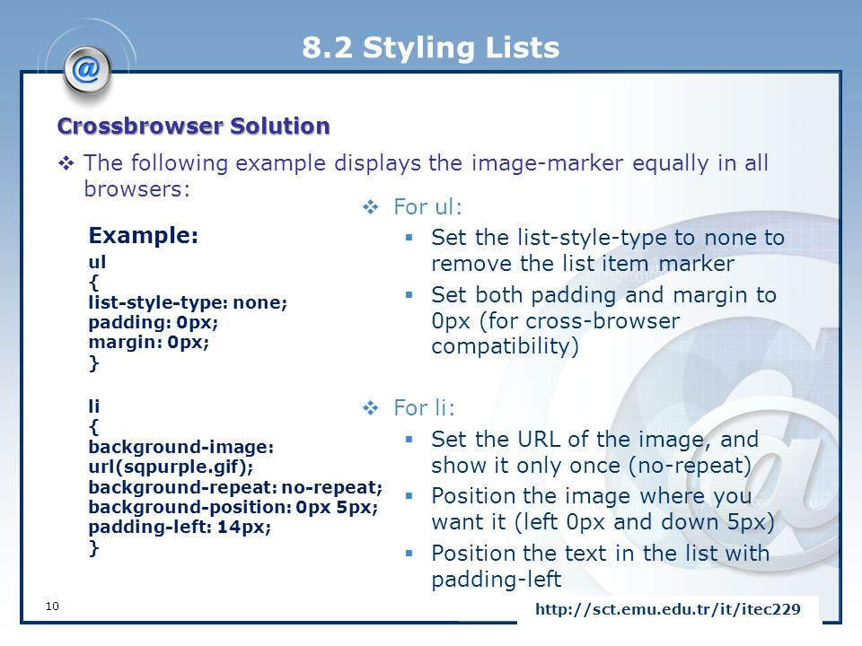 8.2 Styling Lists Crossbrowser Solution