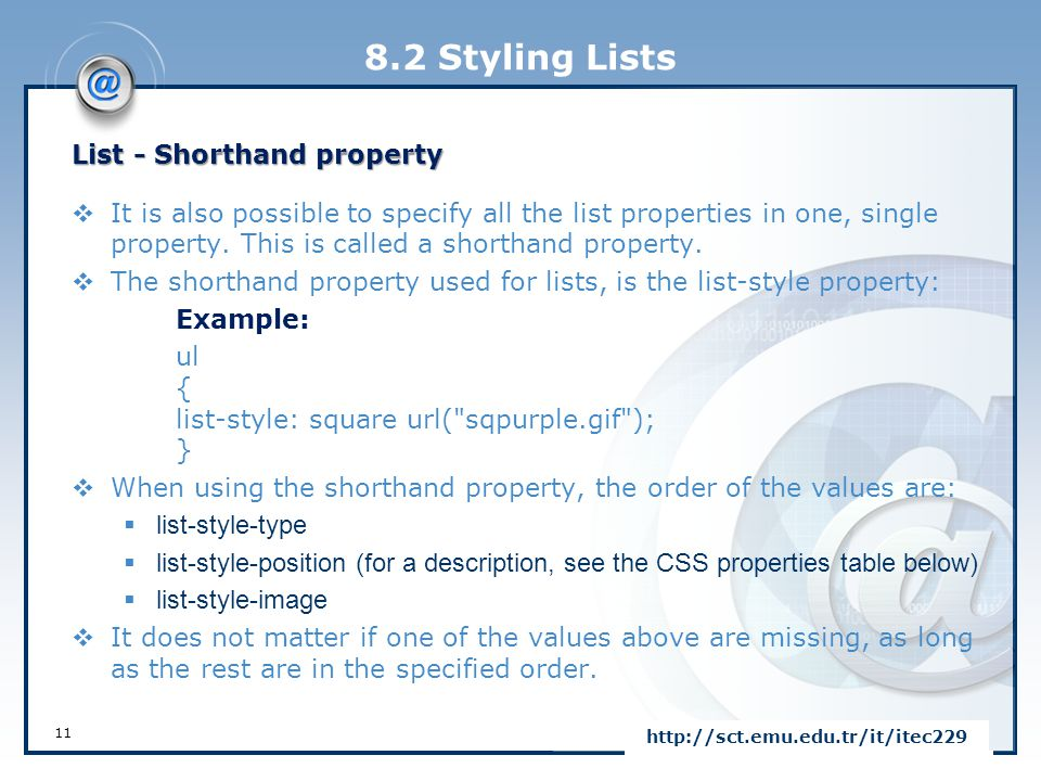 8.2 Styling Lists List - Shorthand property