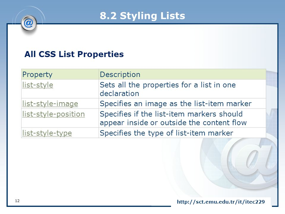 8.2 Styling Lists All CSS List Properties Property Description