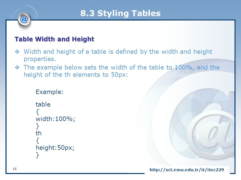 8.3 Styling Tables Table Width and Height