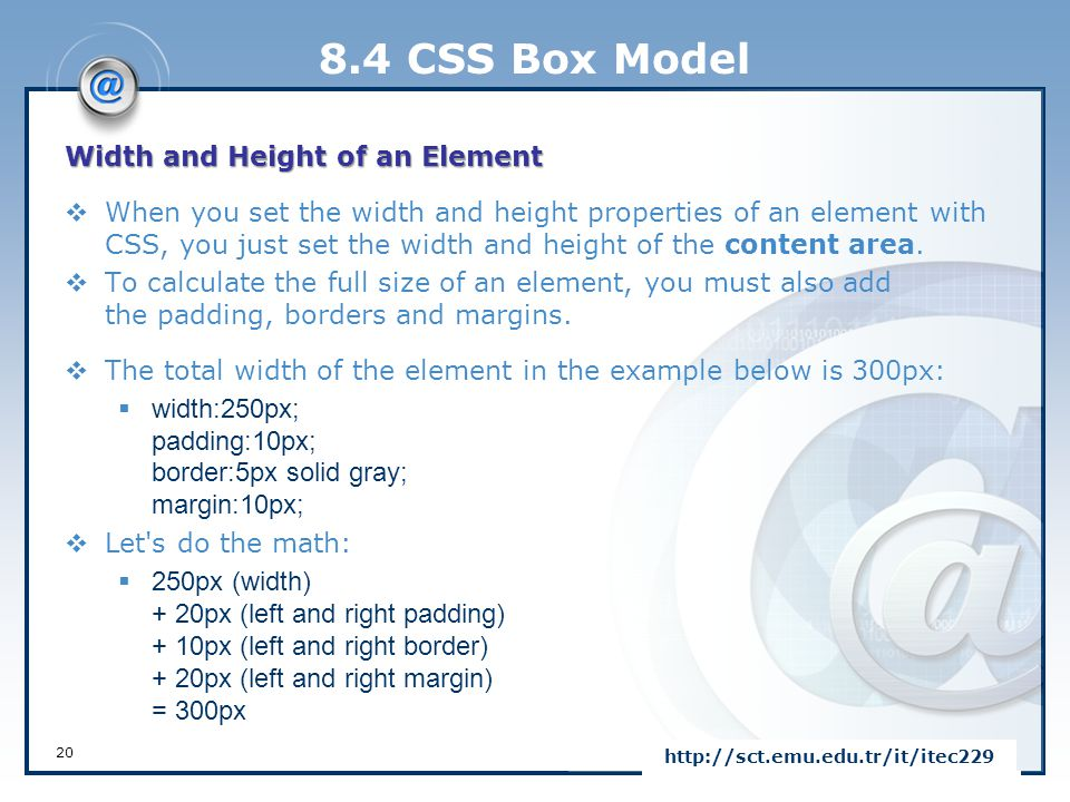 8.4 CSS Box Model Width and Height of an Element