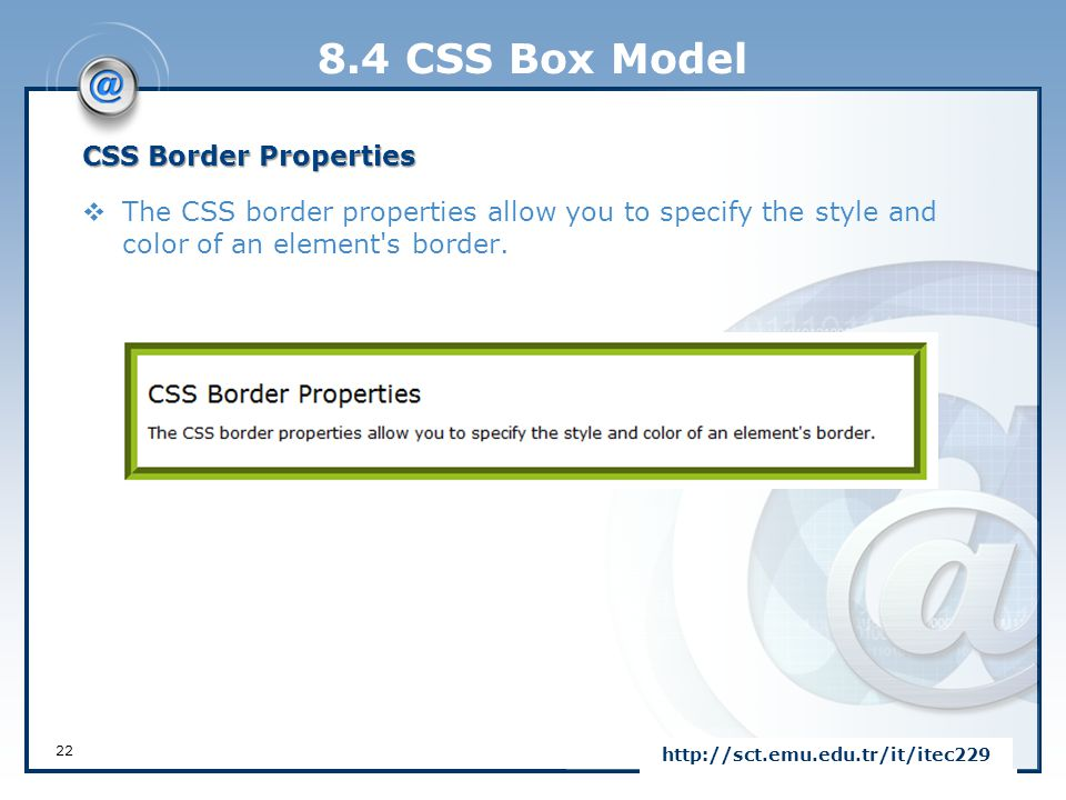 8.4 CSS Box Model CSS Border Properties
