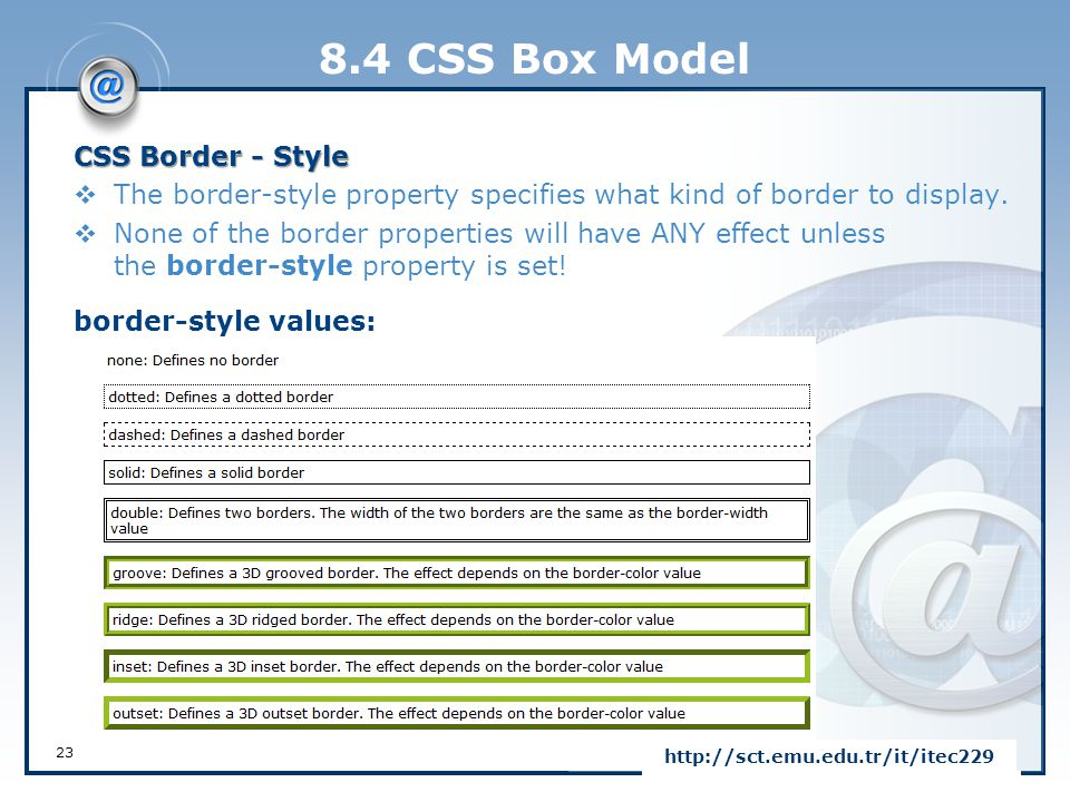 8.4 CSS Box Model CSS Border - Style