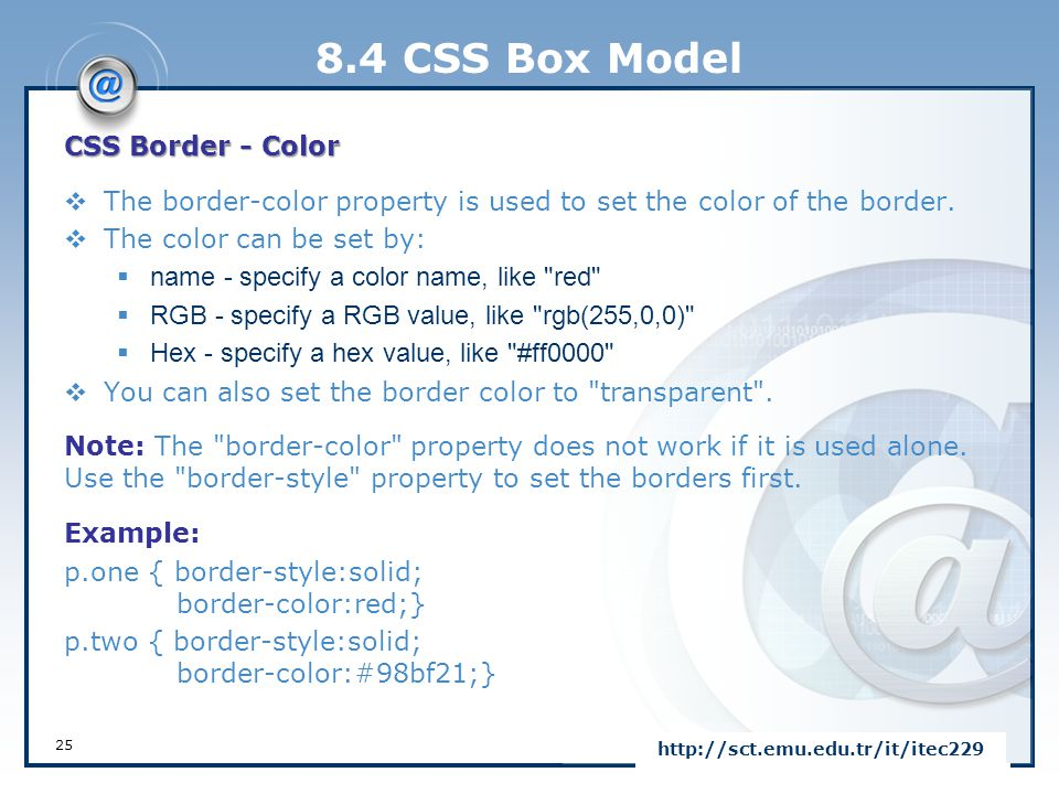 8.4 CSS Box Model CSS Border - Color