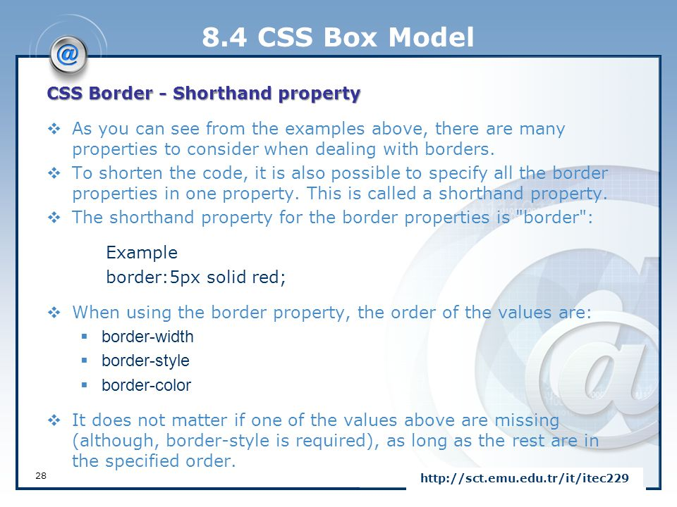 8.4 CSS Box Model CSS Border - Shorthand property