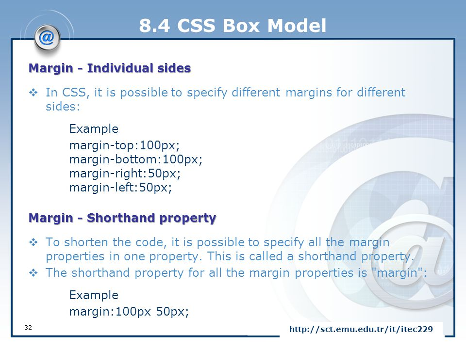 8.4 CSS Box Model Margin - Individual sides