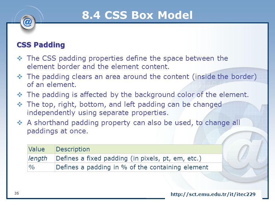 8.4 CSS Box Model CSS Padding