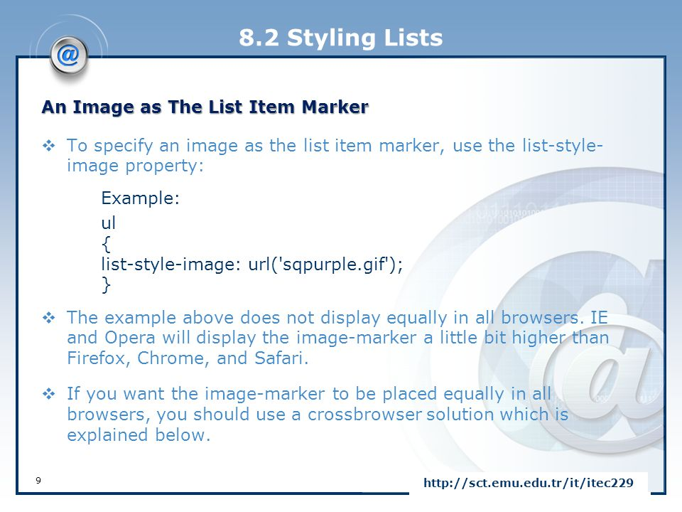 8.2 Styling Lists An Image as The List Item Marker