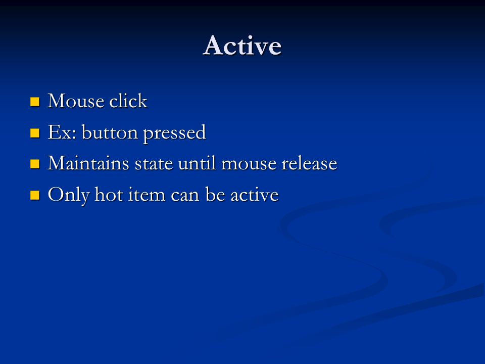 Active Mouse click Ex: button pressed