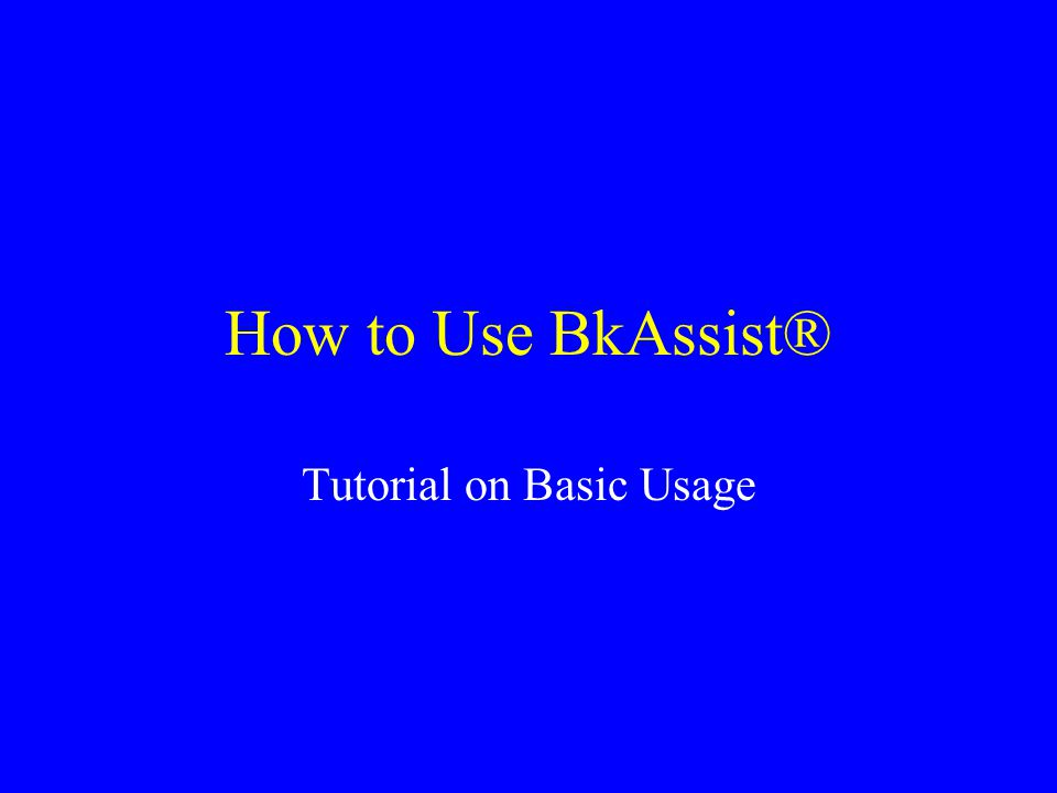 Tutorial on Basic Usage