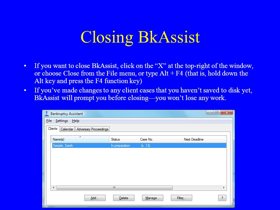 Closing BkAssist