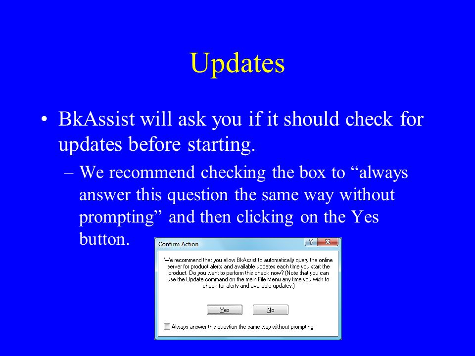 Updates BkAssist will ask you if it should check for updates before starting.
