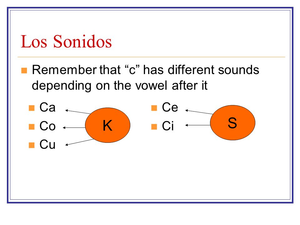 Los Sonidos Remember that c has different sounds depending on the vowel after it. Ca. Co. Cu. Ce.