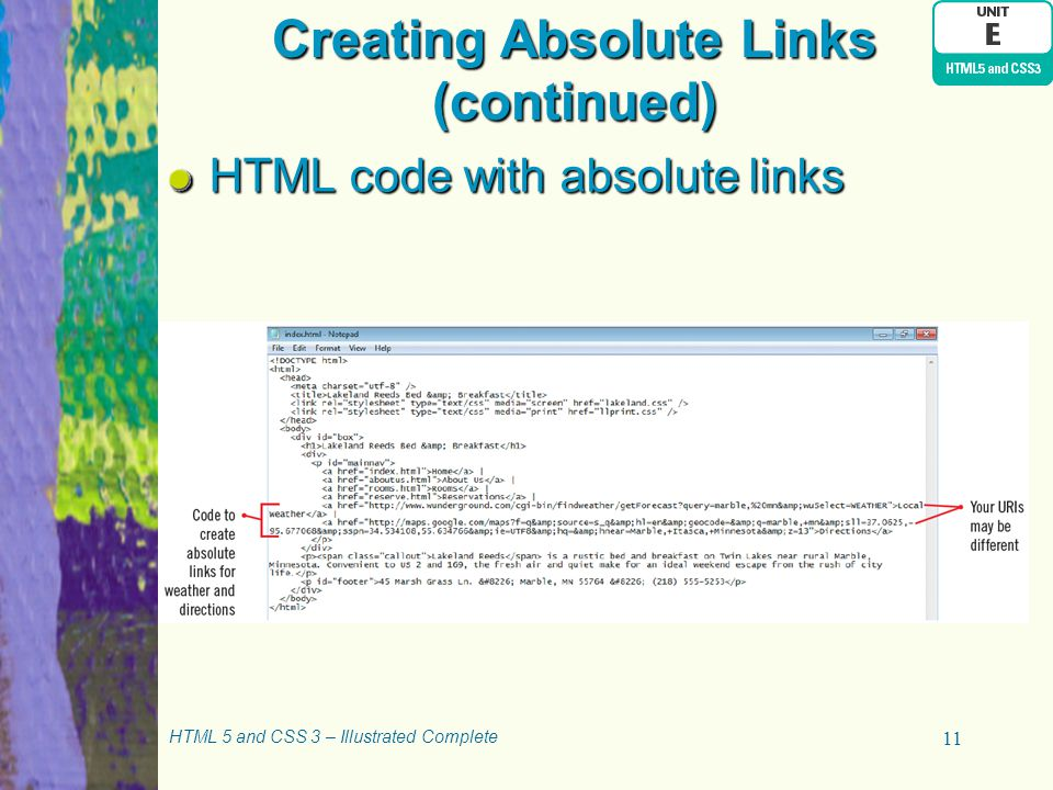 Creating Absolute Links (continued)