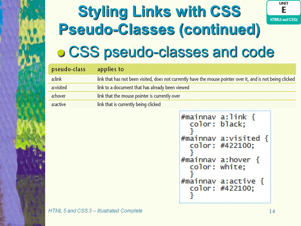 Styling Links with CSS Pseudo-Classes (continued)