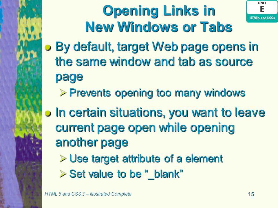 Opening Links in New Windows or Tabs