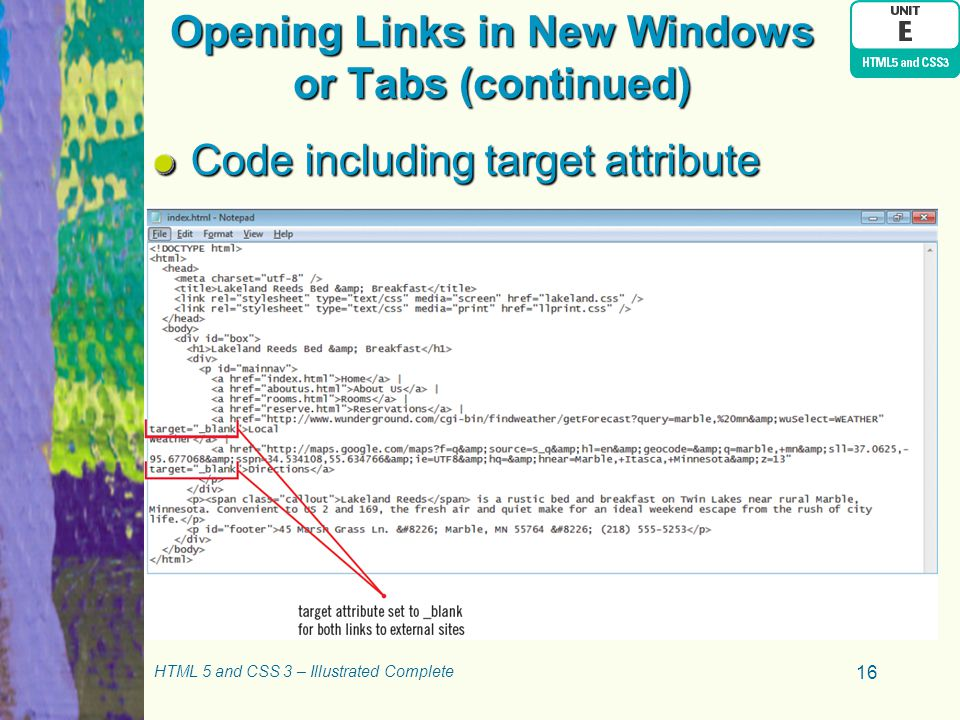 Opening Links in New Windows or Tabs (continued)