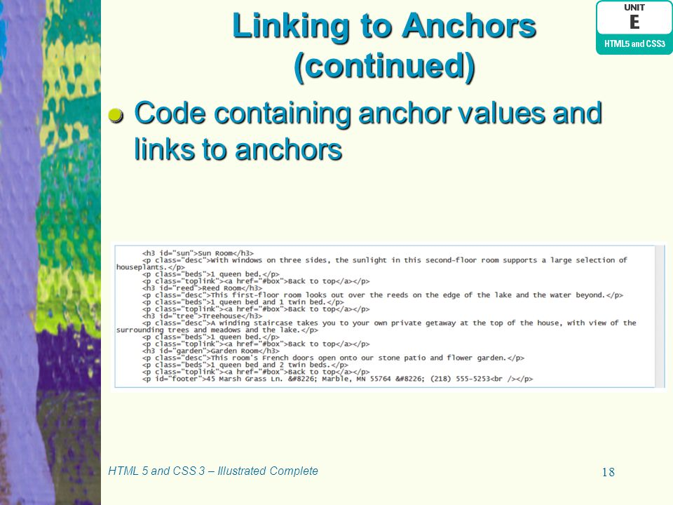 Linking to Anchors (continued)