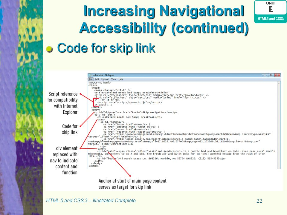Increasing Navigational Accessibility (continued)