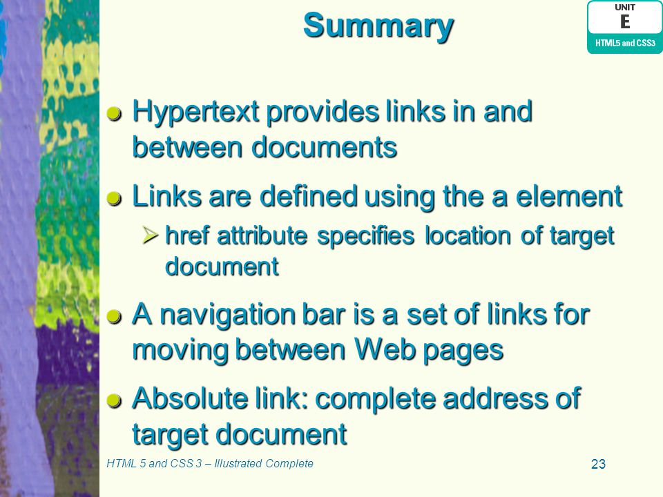 Summary Hypertext provides links in and between documents