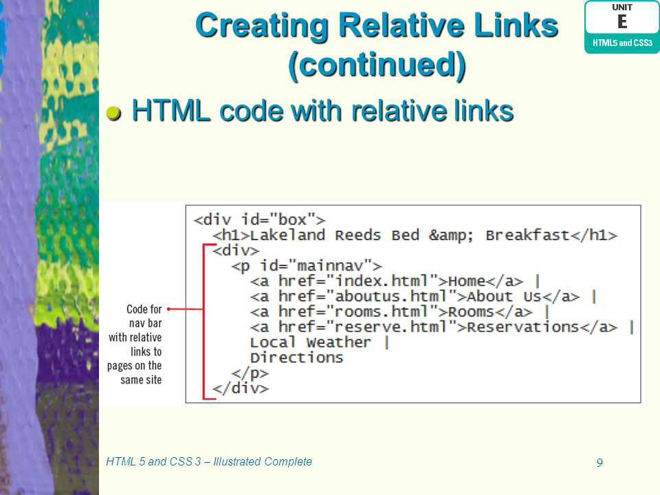 Creating Relative Links (continued)