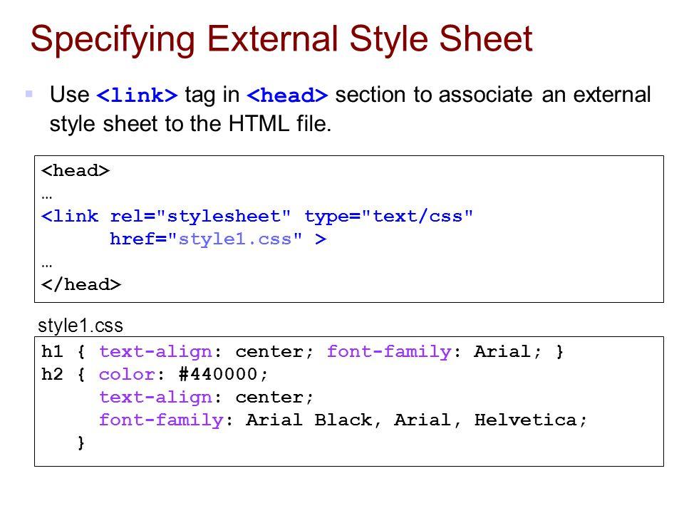 Specifying External Style Sheet