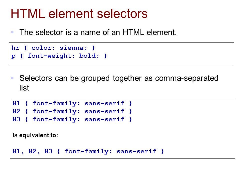 HTML element selectors