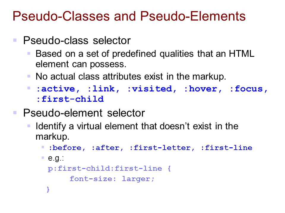 Pseudo-Classes and Pseudo-Elements