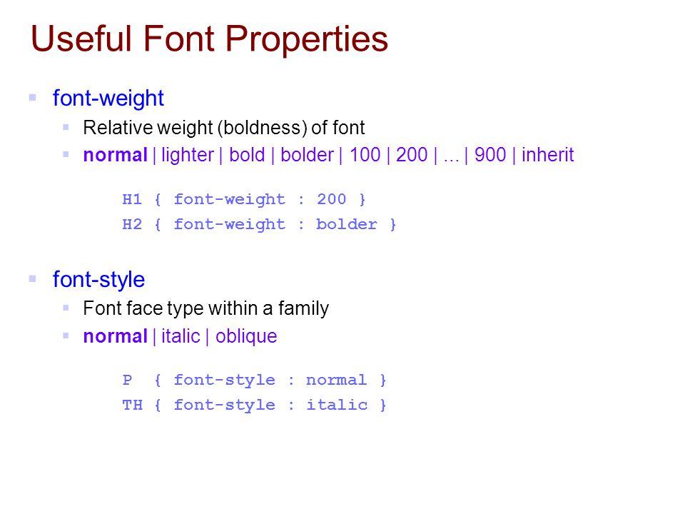 Useful Font Properties