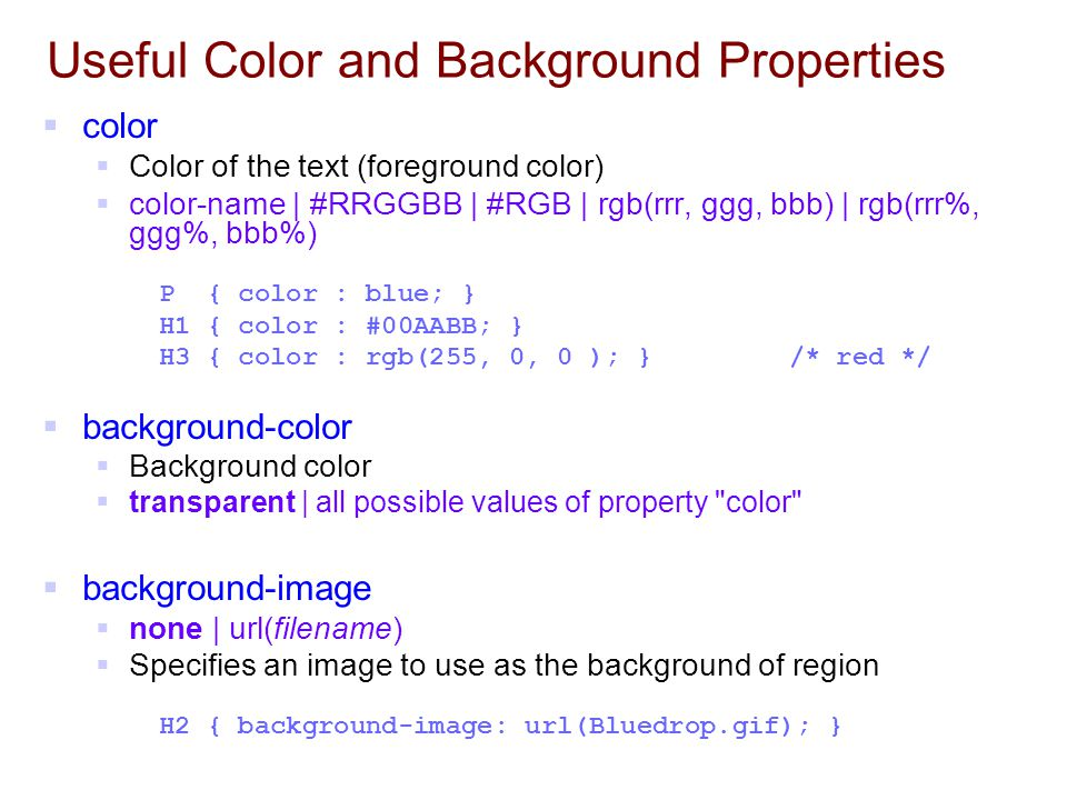 Useful Color and Background Properties